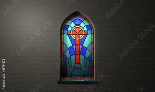 Fotografie, Obraz  Stained Glass Window Crucifix