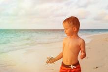 Little Boy Holding Starfish On Sunset Beach