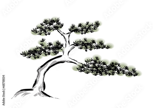 Obraz Ink painting pine tree - fototapety do salonu