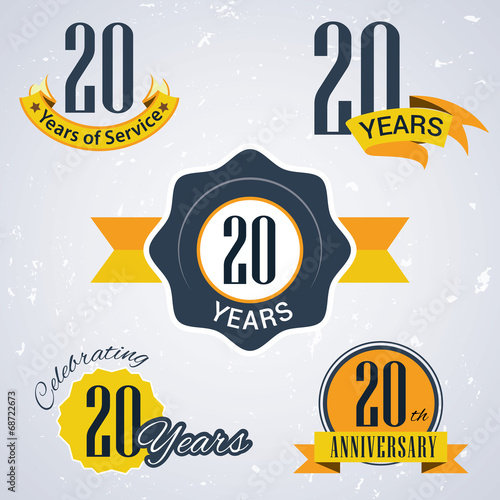 Fotografia  Retro vector stamp celebrating, 20 years of service,Anniversary