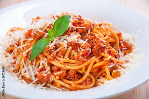 Fototapety, obrazy: spaghetti bolognese on white plate