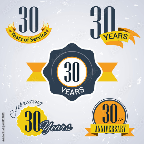 Poster  Retro vector stamp celebrating, 30 years of service,Anniversary