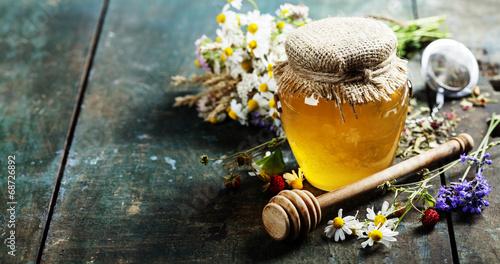 Plakat Miód i herbata ziołowa