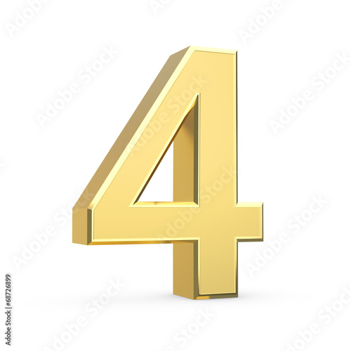 Shiny big golden 3D number on white - isolated Poster