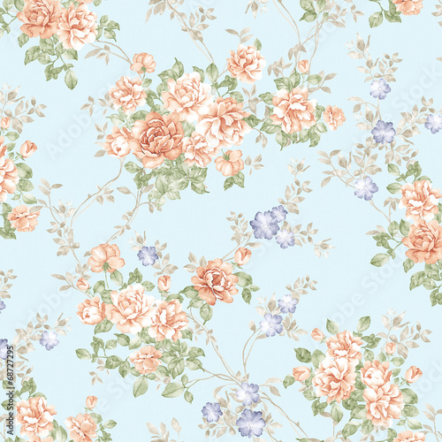 Foto auf AluDibond Vintage Blumen flowers seamless pattern background - For easy making seamless p