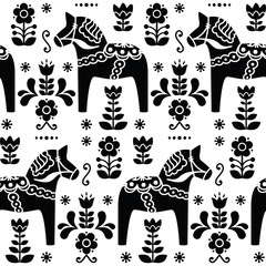 FototapetaSwedish folk art Dala or Daleclarian horse black pattern
