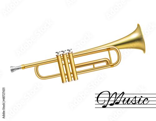 Slika na platnu Trumpet isolated on white