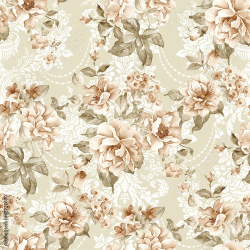 Deurstickers Vintage Bloemen flowers seamless pattern background - For easy making seamless p