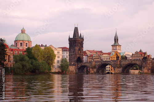 Ingelijste posters Oost Europa Old Prague at sunset