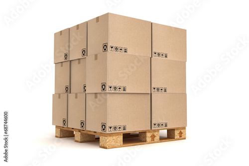 Stampa su Tela Cardboard boxes on pallet.