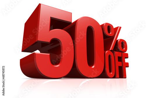 Fotografia  3D render red text 50 percent off.
