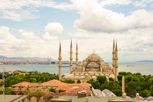 Printed kitchen splashbacks Cappuccino Incredible beautiful view of Blue Mosque from hotel terrace