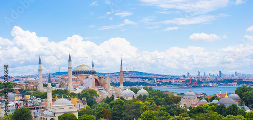 Tableau sur Toile Incredible beautiful view of Hagia Sophia from hotel terrace