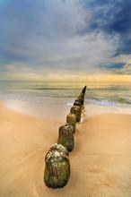 Krajobraz Morski, Plaża Z Dre...