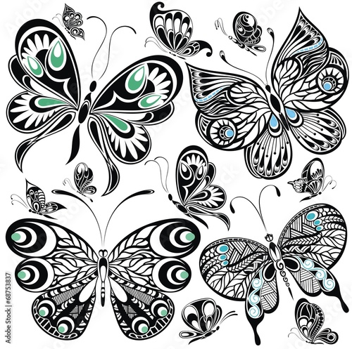 Poster Floral black and white Butterfly set