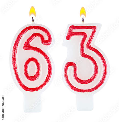 Fotografia  Birthday candles number sixty three isolated on white background