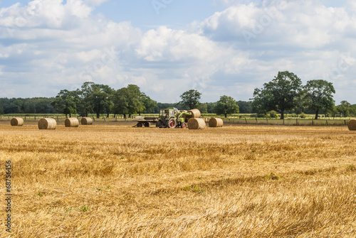 Canvas Prints Culture Hay bales on Stubble Field