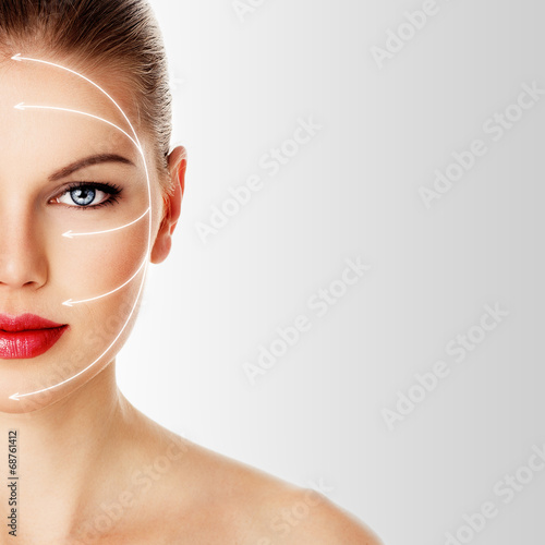 Fotografie, Obraz  Close-up of woman's face ready for rejuvenation treatment