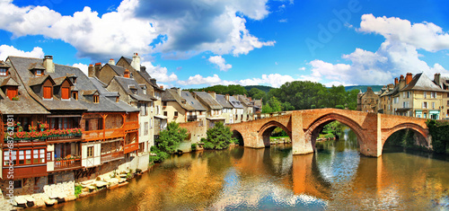Espalion  - pictorial village  in southern France. Canvas Print