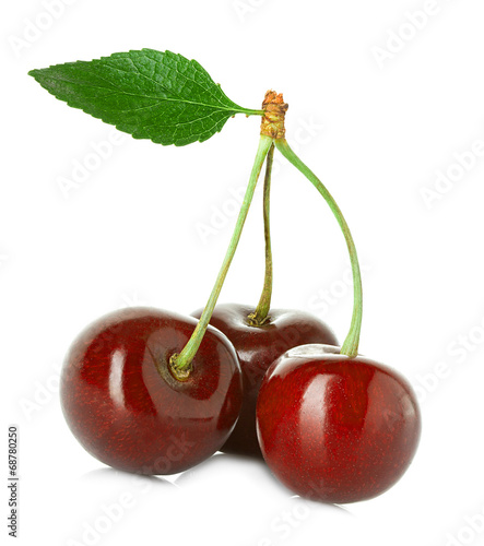 Foto auf Gartenposter Kirschblüte Juicy sweet cherry with leaf isolated on white background