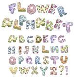 Cartoon flower alphabet. Vector illustration.
