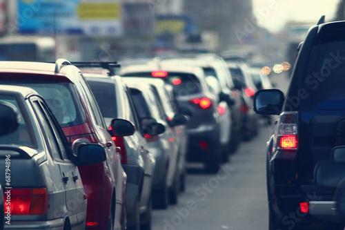 traffic jams in the city, road, rush hour Wallpaper Mural