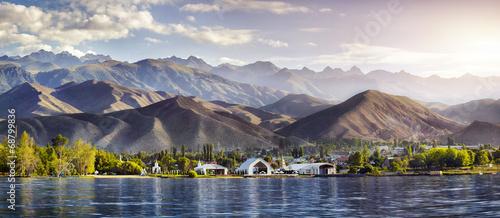 Fotoposter Bergen Issyk Kul lake panorama