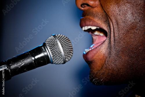Fototapeta Gesang am Mikrofon