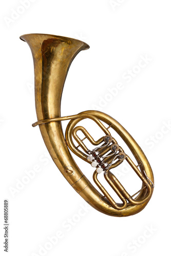 Old  baritone horn isolated on white Canvas Print