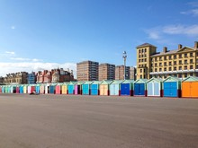 Colourfully Painted Beach Huts, Brighton And Hove