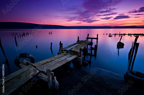 Wall Murals Long time exposure landscape with lake after sunset