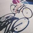 canvas print picture - Die Fahrradfahrerin