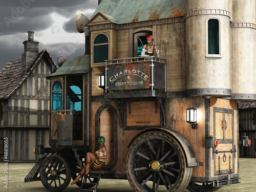 Steampunk mobile bordello Canvas Print