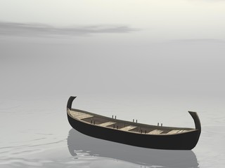 Plakat Peaceful wooden boat - 3D render