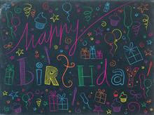 HAPPY BIRTHDAY Card (doodle Invitation Party Celebration)