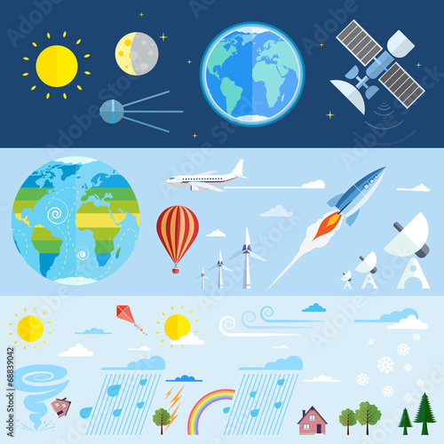 Valokuva  Flat vector icons of space and meteorological elements.