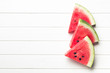 canvas print picture - sliced watermelon on kitchen table