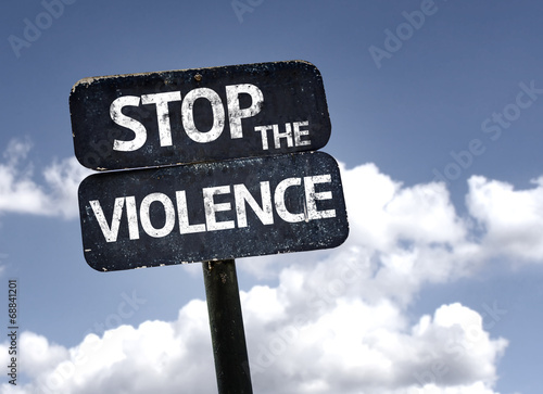 Stop the Violence sign with clouds and sky background плакат