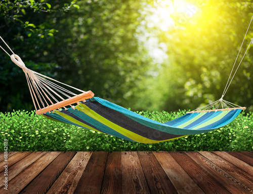 Poster  Relaxing on hammock in garden