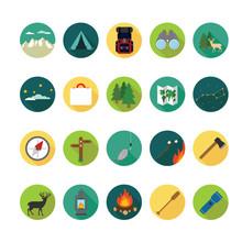 Camping Icons Set. Illustratio...
