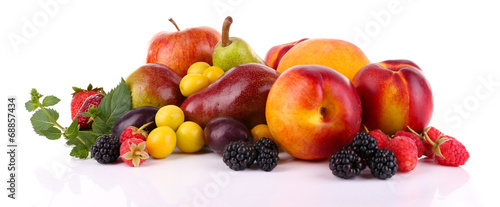 Poster Fruit Different berries and fruits isolated on white
