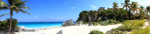 Fotografía panoramique plage et ruines de tulum - Mexique