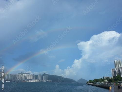 Photo  Double rainbows in Hong Kong