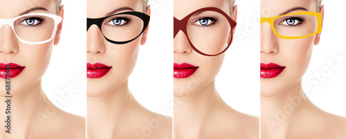 Photo  Collection of stylish spectacles frames.