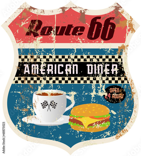 retro american  route 66 diner sign, vector format