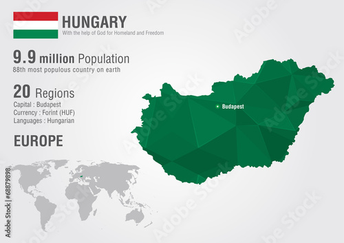 Hungary world map with a pixel diamond texture. Tablou Canvas