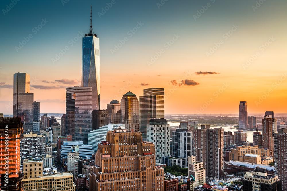 Fototapety, obrazy: Lower Manhattan skyline at sunset