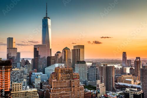Poster New York Lower Manhattan skyline at sunset