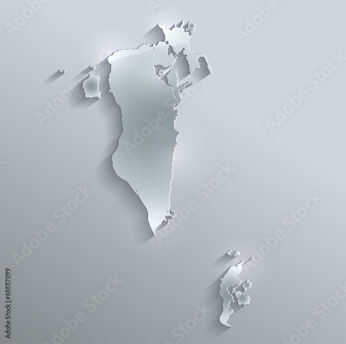 Fotografia, Obraz  Bahrain map flag glass card paper 3D vector