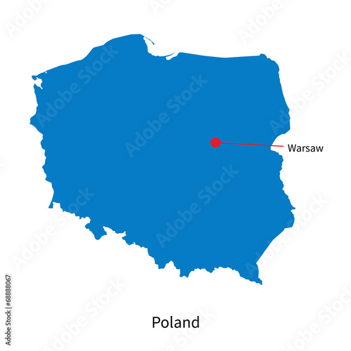 Capital Of Poland Map.Detailed Vector Map Of Poland And Capital City Warsaw Buy This